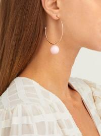 IRENE NEUWIRTH Gumball pink opal & 18kt rose-gold hoop earrings ~ luxe hoops