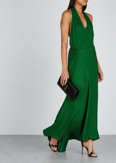 HAIDER ACKERMANN Green halterneck maxi dress ~ fluid wrap style evening gown