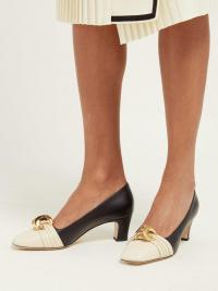 GUCCI Half-moon GG leather pumps | Matches Fashion