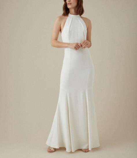 KAREN MILLEN Halterneck Maxi Dress in Ivory ~ evening elegance