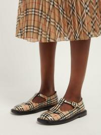 BURBERRY Hannie T-bar Vintage check leather shoes / checked T-bar flats