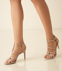 REISS HARLOW T-BAR STRAPPY SANDALS TAUPE