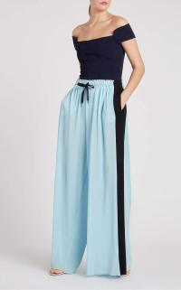 ROLAND MOURET HAVEN TROUSER in ICE BLUE/BLACK ~ fluid sporty pants ~ sports luxe trousers