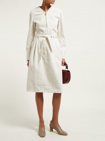 LEMAIRE High-rise pleated-waist denim skirt in ivory-white ~ belted skirts