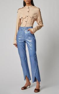 Petar Petrov Homer Patent-Leather Straight-Leg Pants in blue | asymmetric hems