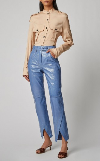 Petar Petrov Homer Patent-Leather Straight-Leg Pants in blue | asymmetric hems