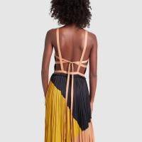 Ulla Johnson IMANI GOWN in Marigold ~ back detail gowns ~ long pleated dresses