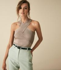 REISS IMOGEN METALLIC HALTER NECK TOP SILVER ~ luxe halterneck tops ~ evening glamour