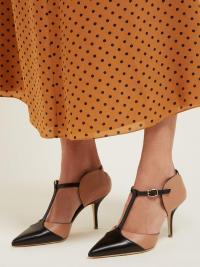 MALONE SOULIERS Imogen T-bar leather mules ~ colourblock heels