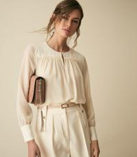 REISS INDIE SEMI SHEER SMOCK BLOUSE IVORY ~ feminine tops