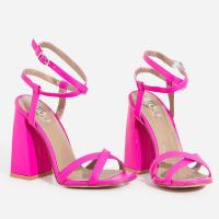 EGO Iris Flared Block Heel In Neon Pink Faux Leather ~ chunky heeled sandals