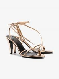 Isabel Marant Rose Gold Arora 85 Strappy Leather Sandals / asymmetric metallic straps