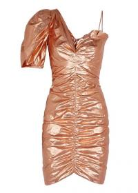 ISABEL MARANT Talma rose gold ruched dress ~ 80s style evening glamour ~ metallic party wear