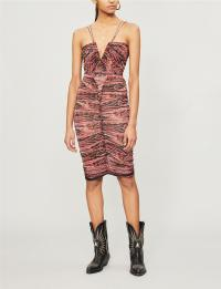 ISABEL MARANT Wilma gathered floral-print woven dress | deep V-plunge neckline