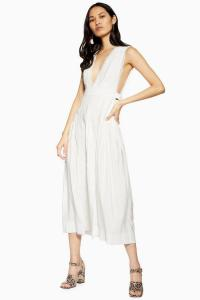 Topshop Ivory Lace Insert Pinafore Dress | summer plunge front dresses