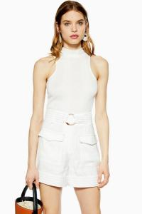 TOPSHOP Ivory Utility Shorts in Ivory. SMART UTILITARIAN SHORT