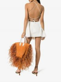 Jacquemus Brown Le Baci Frayed Straw Basket Bag / summer statement bags
