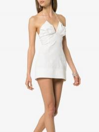Jacquemus Fitted Halterneck Low Back Dress in White | strappy plunge front mini