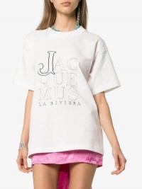 Jacquemus La Riviera Boxy Fit Logo T-Shirt in White / designer tee