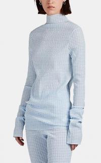 JIL SANDER Gingham Plissé Mock-Turtleneck Top in Blue ~ effortless style clothing