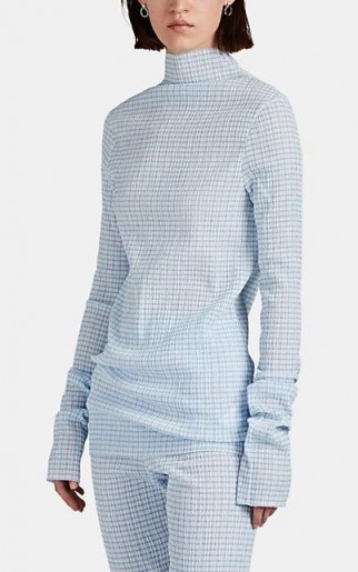 JIL SANDER Gingham Plissé Mock-Turtleneck Top in Blue ~ effortless style clothing