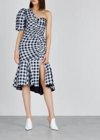 JONATHAN SIMKHAI Gingham ruched one-shoulder dress / monochrome checks