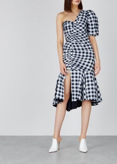 JONATHAN SIMKHAI Gingham ruched one-shoulder dress / monochrome checks - flipped
