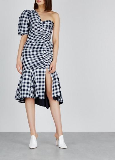JONATHAN SIMKHAI Gingham ruched one-shoulder dress / monochrome checks