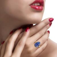 18K Gold Ring With Carved Pear Tanzanite | Wolf & Badger