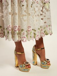 DOLCE & GABBANA Keira jacquard-brocade platform sandals in gold ~ beautiful Italian footwear