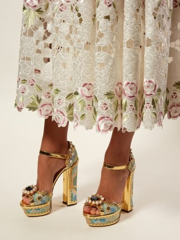 DOLCE & GABBANA Keira jacquard-brocade platform sandals in gold ~ beautiful Italian footwear - flipped