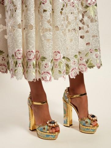 DOLCE & GABBANA Keira jacquard-brocade platform sandals in gold ~ beautiful Italian footwear