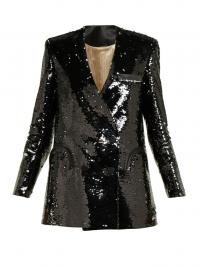 BLAZÉ MILANO Kelpie black sequinned double-breasted blazer / shimmering jackets