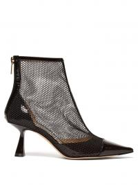 JIMMY CHOO Kix 65 mesh and patent-leather ankle boots in black / curved heel point toe bootie