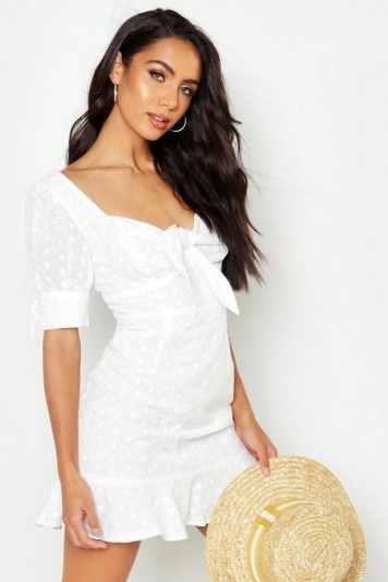 boohoo Knot Front Broderie Anglais Mini Dress ~ frill hem summer mini