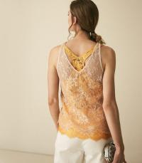 REISS KODI DOUBLE LAYERED LACE TOP YELLOW ~ sleeveless detailed tops