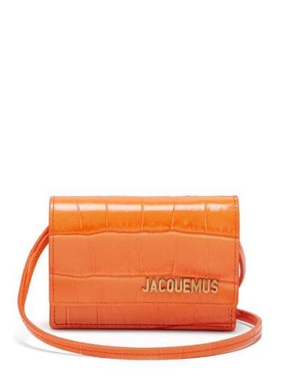 JACQUEMUS Le Bello crocodile-effect leather shoulder bag in orange ~ small bright crossbody