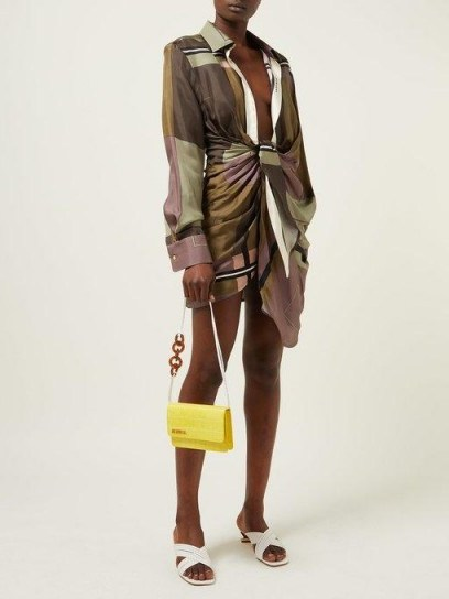 JACQUEMUS Le Sac Riviera crocodile-effect leather bag in yellow ~ small summer bags - flipped