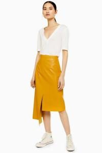 Topshop Boutique Leather Step Hem Skirt in Banana | yellow side draped skirts