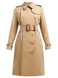 BURBERRY Leather trim cotton-gabardine trench coat in beige ~ classic coats