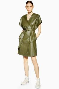 Topshop Boutique Leather Wrap Dress in Khaki | contemporary luxe