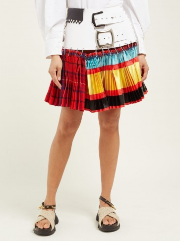 CHOPOVA LOWENA Leather-belted mixed-print pleated skirt in red ~ contemporary style