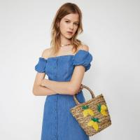 WAREHOUSE LEMONS STRAW BUCKET BAG in beige / small summer bags