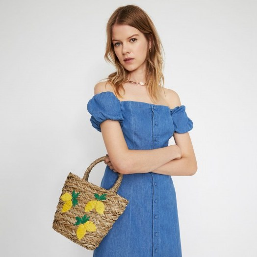 WAREHOUSE LEMONS STRAW BUCKET BAG in beige / small summer bags - flipped