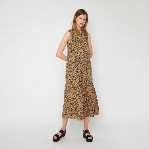 WAREHOUSE LEOPARD TIER SHIRT MIDI DRESS in NEUTRAL PRINT / sleeveless tiered summer dresses