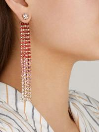 JACQUEMUS Les Boucles Monaco crystal drop earrings in red ~ glamorous statement drops