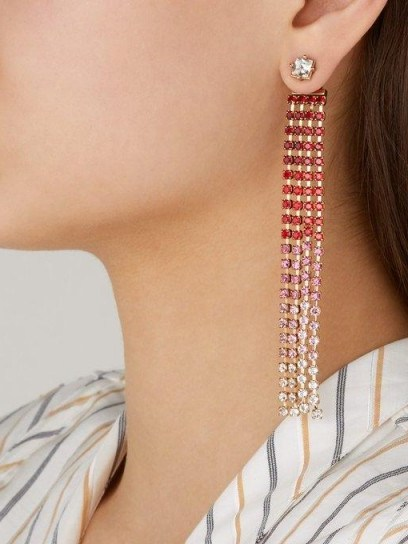 JACQUEMUS Les Boucles Monaco crystal drop earrings in red ~ glamorous statement drops - flipped