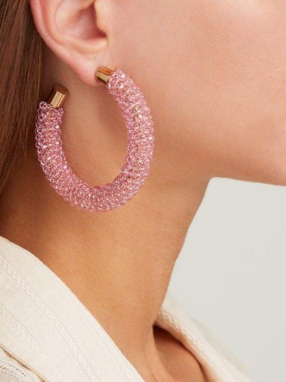 JACQUEMUS Les Creoles Brila pink crystal hoop earrings ~ large luxe hoops