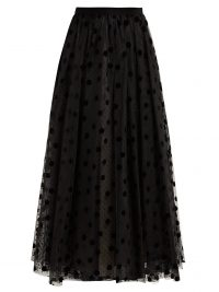 ERDEM Lindle flocked polka dot tulle skirt in black ~ romantic maxi