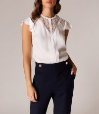 KAREN MILLEN LINEAR LACE BLOUSE Ivory ~ flutter sleeve top